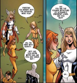 Firestar and Ultragirl at orientation