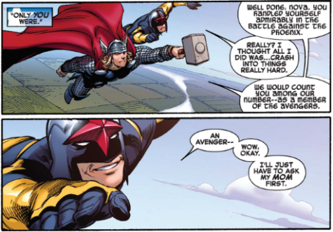 Avengers vs X-Men 12 - Nova offered Avengers membership by Thor