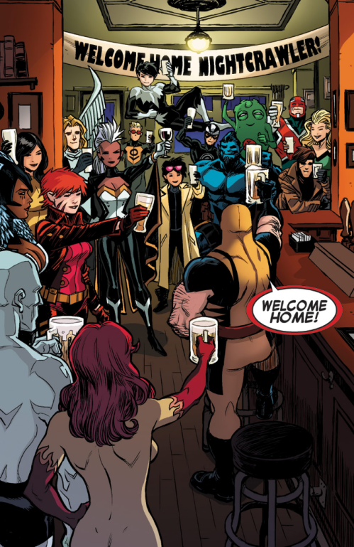 Amazing X-Men v2 6 - Firestar and Jubilee at Nightcrawler welcome home party