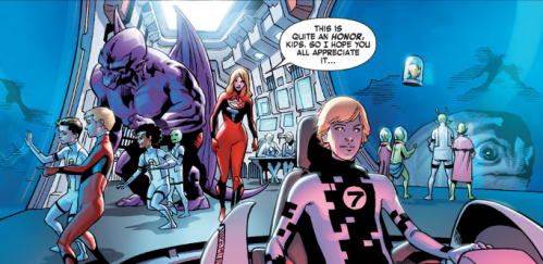 Fantastic Four v5 3 - Alex Power with Future Foundation and Sue Storm on field trip